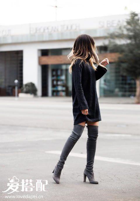 黑色毛衣裙搭配